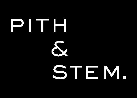 Pith & Stem. White Logo