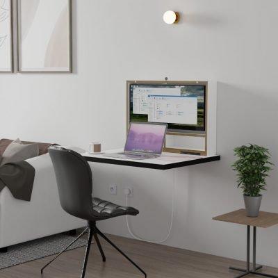 DropTop Folding desk with ultra-wide screen