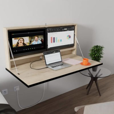 Wall Mounted Desk with 24 inch dual monitors